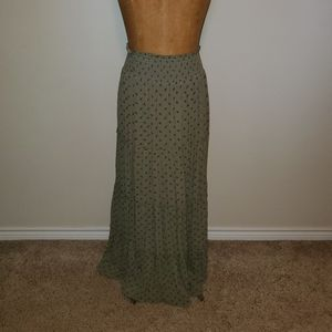 Army green/blue floral maxi skirt